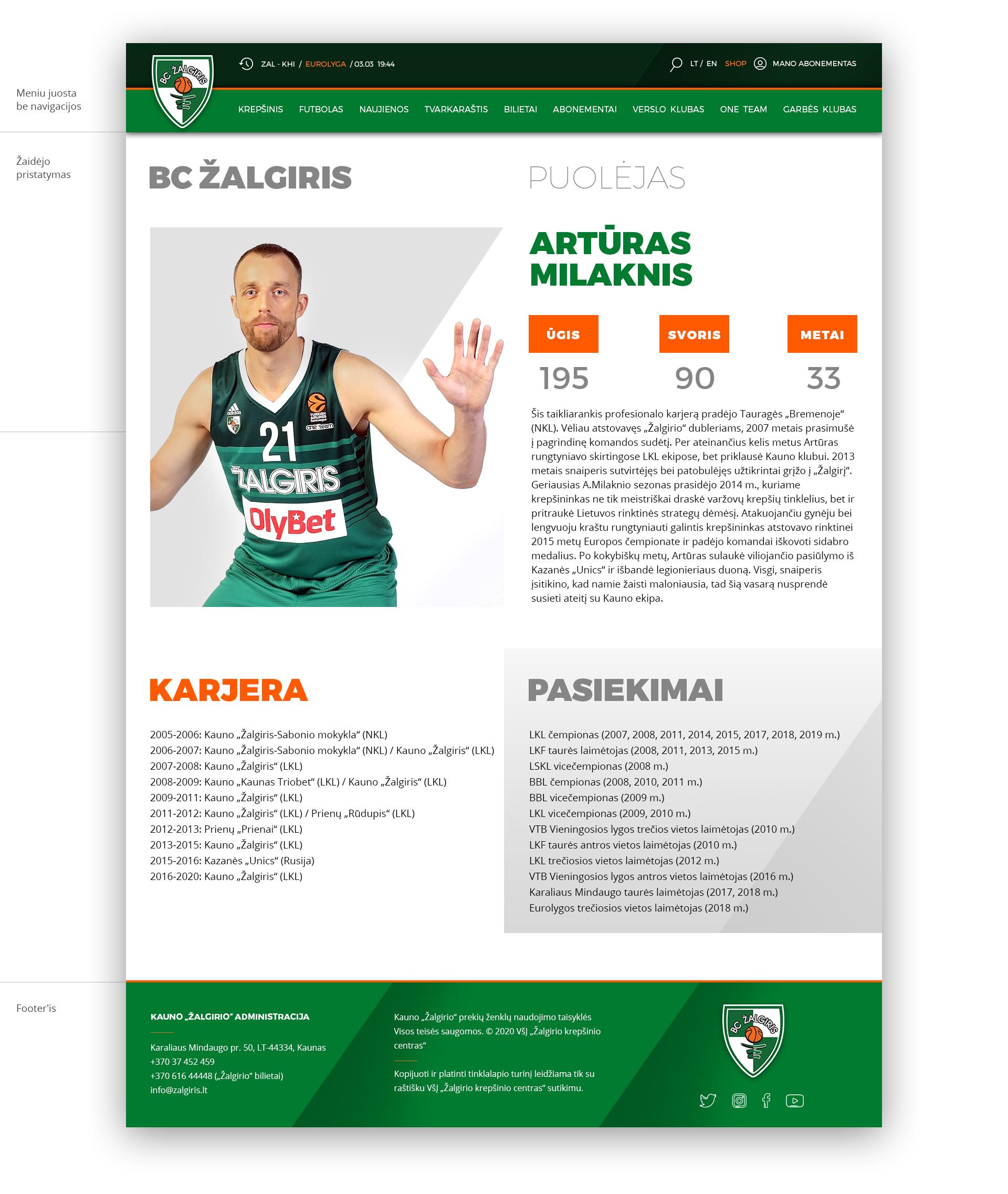 BC Žalgiris internetinio tinklapio konceptas 8 /Logobou Design 9